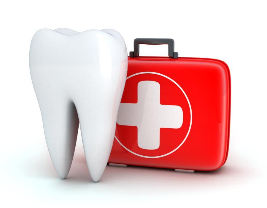 Illustrated tooth with first aid kit | Emergency Dentistry Glendale CA